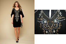 *MONSOON*Black Arabella Embellished Embroidered Sequin Short Sleeve Dress sz-10
