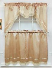 MODERN PRINCESS 3pcs lace kitchen curtain set. GOLD color.