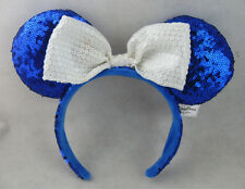 New Disney Parks Minnie Mouse White Bow Blue Sequins Ear Headband Costume Party