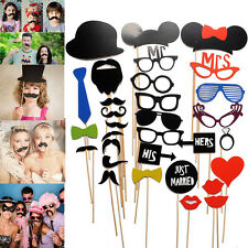 31PCS DIY Face Funny Masks Photo Booth Gatsby Glasses Props Mustache Party