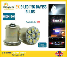NEW RED 9 LED 1156 BA15S P21W CANBUS NO ERROR SIDELIGHT INDICATOR BULBS x 2
