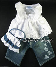 BUILD-A-BEAR WHITE EYELET TOP, BLUE JEANS, PURSE SET TEDDY CLOTHES OUTFIT