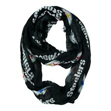 Pittsburgh Steelers NFL Black Sheer Infinity Logo Scarf ~ NEW