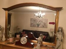LARGE GOLD OVER MANTLE ORNATE FRAME BEVELLED GLASS WALL MIRROR