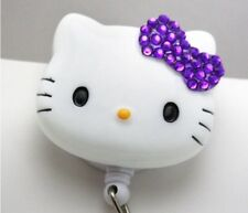 "Bling Hello Kitty 45mm / 1.9"" Retractable Reel ID Badge Holder_purple Bow 1pc"