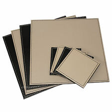 Reversible Flip 4 Placemats & 4 Coasters Black Taupe Square Faux Leather Set