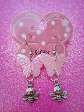 Pink Shiny Sequin Butterfly and Bee Earrings  USA