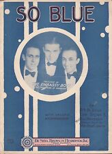 SO BLUE jazz song EMBASSY BOYS piano ukulele B.G. DeSYLVA & RAY HENDERSON 1927