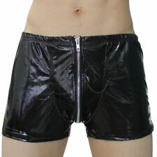 Men's Sexy Gay Fetish Zipper Faux Leather Shorts PVC Wetlook Clubwear Underwear