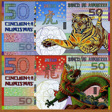 SET, Kamberra, POLYMER, 50 + 50, China Lunar Year 2010;2012, UNC   TIGER, DRAGON