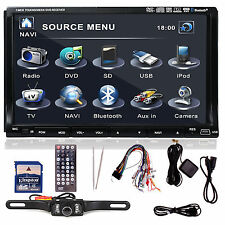 "Sony Lens GPS+MAP+Cam-Double 2Din In Dash 7"" Car Stereo DVD Player Radio BT iPod"