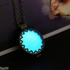 New Glow in the Dark Round Hollow Metal Chain Locket Necklace Pendant