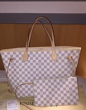 BNWT AUTHENTIC LOUIS VUITTON DAMIER AZUR NEVERFULL MM
