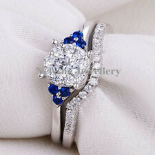 0.63 Ct Blue Sapphire Round Cut 925 Sterling Silver Wedding Band Ring Set Size 8