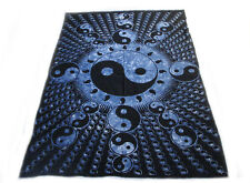 Yin Yang Tapestry Blue/Black Decorative Wall Hanging Hippie Bedspread Cotton