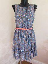 DARLING London Lined Summer Dress Bow Belt Blue Orange BNWOT UK Medium (10-12)