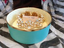 NEW KATE SPADE PUTTING ON THE RITZ MAGNETIC/HINGE GLASS CRYSTALS/12K GOLD PLATE