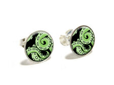 Green Tentacles - Squid Octopus Sea Monster - Silver Plated Stud Earrings