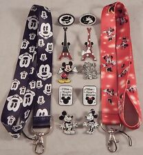 Mickey and Minnie Couples Lanyard Set with 10 Disney Trading Pins ~ Brand NEW