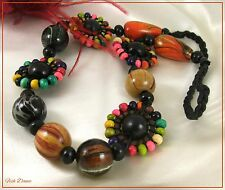 LOVELY CHUNKY MULTI COLOURED WOODEN BEAD STATEMENT NECKLACE ON CORD THONG (Cc)
