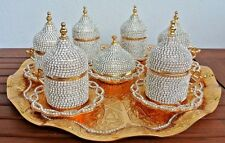 27 Pc Turkish Greek Arabic Coffee Espresso Cup Saucer Tray Crystal Set - GOLD
