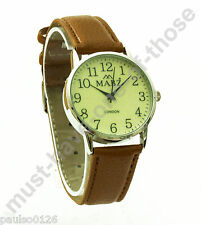 Gents Watch, Easy Read Glow in The Dark Dial, Brown Leather Strap, By Mabz