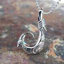 SCROLL FISH HOOK Hawaiian Jewelry 925 Sterling Silver Pendant Necklace #ESP3409