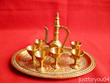 Miniature Brass  6 Goblets - Pitcher/Ewer & - Tray  - Ideal for Dolls House