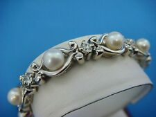 !EXQUISITE 14K WHITE GOLD 1 CT DIAMONDS AND PEARLS SOLID BRACELET,6.5 INCH LONG