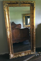 Chateau Shabby Chic French Antique Gold Overmantle Dress Wall Leaner Mirror