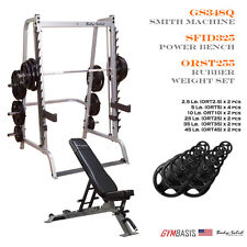 NEW Body-Solid GS348Q Smith Machine w/ SFID325 Bench & 255 lb Rubber Olympic Set