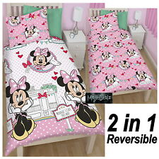 DISNEY MINNIE MOUSE CAFE REVERSIBLE SINGLE DUVET QUILT COVER GIRLS BEDDING SET