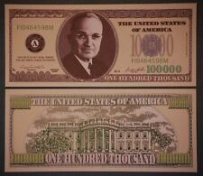 * Harry Truman $100,000 Dollar Bill PLUS HOLDER Protector Novelty Money