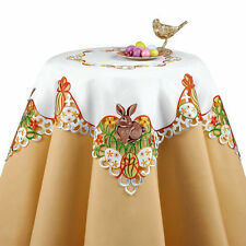 "EASTER BUNNY EASTER EGG EMBROIDERED TABLE RUNNER TABLECLOTH TOPPER 34""X 34"""
