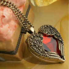 Women's Vintage Angel Wings Heart Red Crystal Pendant Long Chain Necklace sale