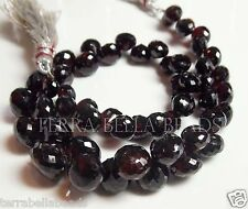 "5"" AAA MOZAMBIQUE GARNET gem stone faceted onion briolette beads 5mm - 8mm red"