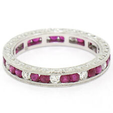 Platinum Etched Milgrain 1.21ctw Channel Diamond & Ruby Eternity Band Ring Sz 7