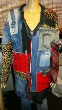 Ooak Hippie Boho Distressed Patchwork Cut n sew Cargo Trench Coat Womens Size 2X