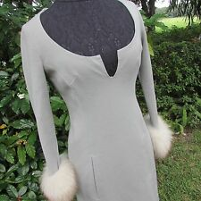 Vintage 60's ICONIC SEX KITTEN PINUP Girl Starlet Grey Dress with Fox Fur Cuffs