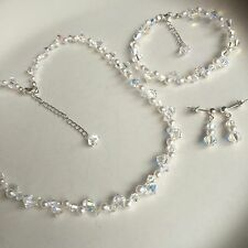 DESIGNER PEARL & CRYSTAL BRIDAL JEWELLERY SET CLUSTER NECKLACE BRACELET EARRINGS