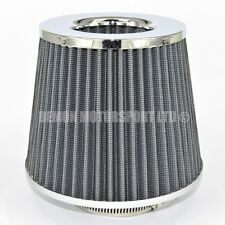 "Universal Mesh Twin Cone Air Filter Silver Grey 70mm / 2.75"" inch Inlet (76119)"