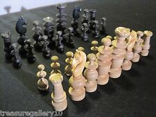 Vintage French Regency Chess Set, Carved Wood Eames Era MCM  Possibly Staunton