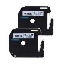 2PK M-K221 Compatible for Brother P-touch Label MK221 WHITE Tape PT90 PT80 9mm