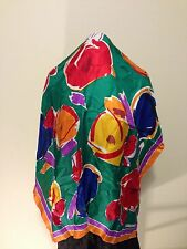 "Chang Joh Silk Scarf FLoral  Print Bright  Multi-Color 34""x 35"" Amazing Square"
