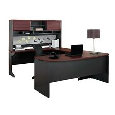 Altra Furniture Altra Pursuit U-Shaped Desk with Hutch Bundle- Cherry Gray NEW