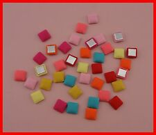 100pcs 12mm square chiffon fabric covered buttons with flatback,wrapped