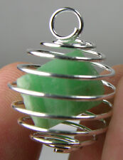 Vietnam 100% Natural Rough Raw Emerald Crystal Specimen in Spiral Cage Pendant