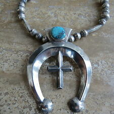 Navajo sterling Silver bench bead necklace cast Naja turquoise Cross necklace