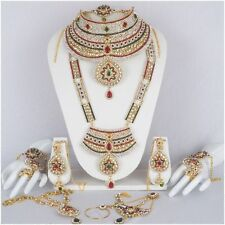 Indian Bollywood Style Wedding Ethnic Bridal Gold Plated 9 PCS Jewelry Set