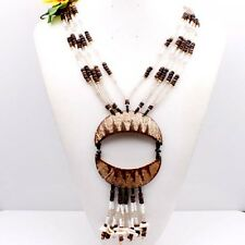 A+Brown White Coconut Shell Moon Beads Pendant Glass Beads Necklace Adjustable